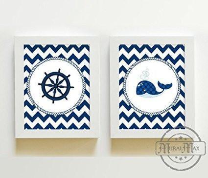 Nautical Nursery Wall Art For Boy's - Chevron Unframed Prints - Set of 2-B018KOBTFC