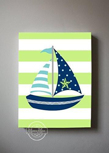 Nautical Sailboat Baby Nursery Canvas Wall Art - Striped Navy & Green Canvas Decor-MuralMax Interiors