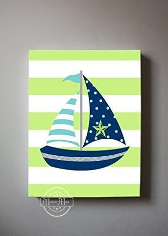 Nautical Sailboat Baby Nursery Canvas Wall Art - Striped Navy & Green Canvas Decor
