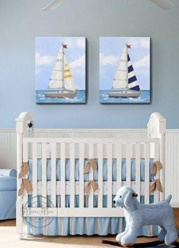 Nautical Sailboat Nursery Art - Nautical Boy Room Decor - Set of 2 Canvas Wall Art