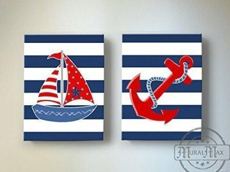 Navy And Red Nautical Nursery Art - Nautical Sailboat & Anchor Canvas Wall Decor - Set of 2-MuralMax Interiors
