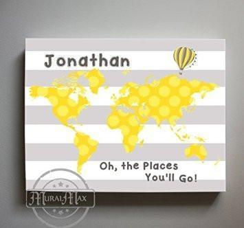 Neutral Baby Nursery Personalized - Dr Seuss Nursery Decor - Striped Canvas World Map Collection - Oh The Places You'll Go -B018ISFI16-MuralMax Interiors