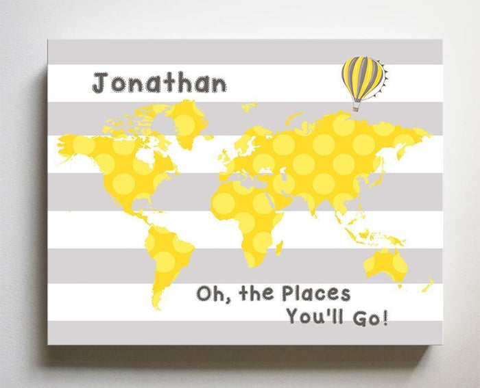 Neutral Baby Nursery Personalized - Dr Seuss Nursery Decor - Striped Canvas World Map Collection - Oh The Places You'll Go --B018ISFI16