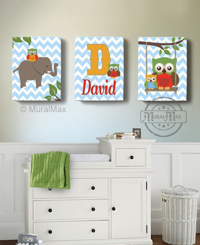 Nursery Animals Personalized Elephant & Owl Baby Boy Room Canvas Wall Art - Set of 3