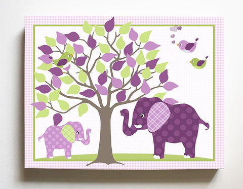 Nursery Art - Elephant Girls Room Decor - Mom & Baby Elephant Safari Canvas Art - Deep Purple-MuralMax Interiors