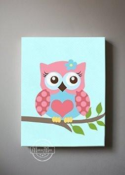 Nursery Art For Girls - Pink & Blue Baby Owl Canvas Nursery Art