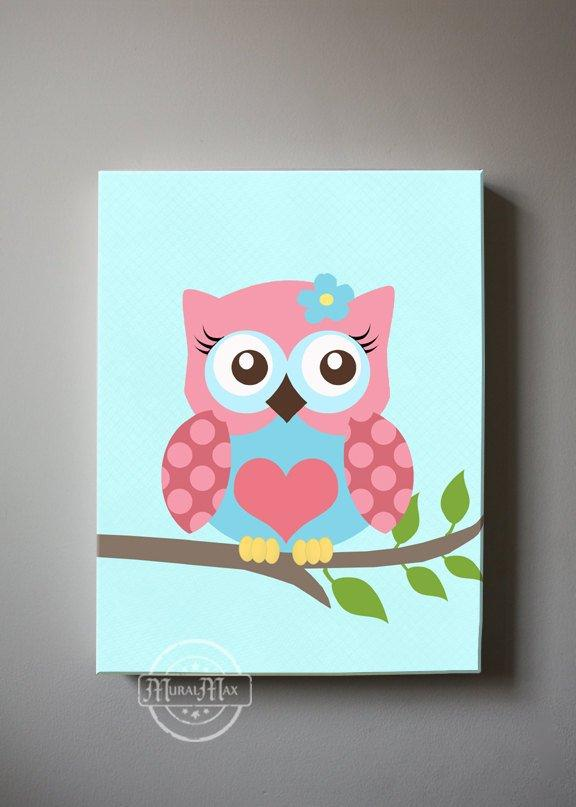 Nursery Art For Girls - Pink & Blue Baby Owl Canvas Nursery Art-MuralMax Interiors