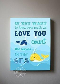 Nursery Art Inspirational Quote - The Whale Family Collection - Canvas Decor-B018ISM6RA