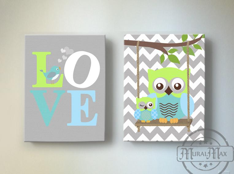 Nursery Art - Love Inspirational Quote - Owl Canvas Art - Set of 2-MuralMax Interiors