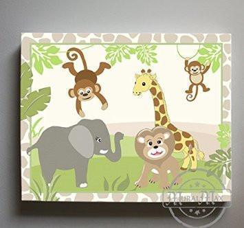 Nursery Art - Nursery Decor - Safari Animals Stretched Canvas Nursery Art - Gender Neutral Kids Wall ArtBaby ProductMuralMax Interiors