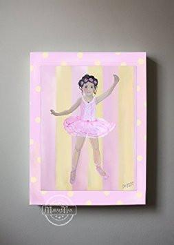 Nursery Ballerina Dancing Theme - Canvas Wall Decor-B018ISP4II-MuralMax Interiors