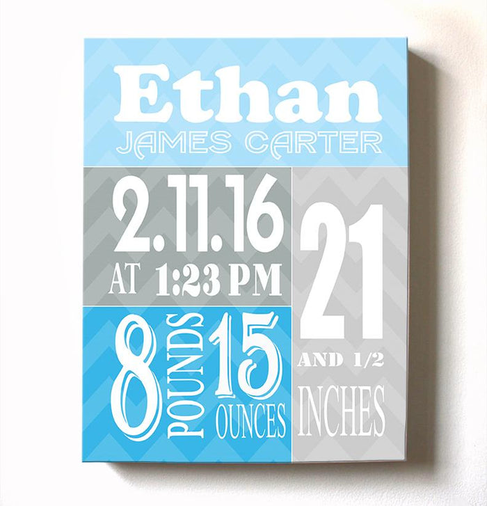 Nursery Decor - Personalized Baby Stats - Baby Boy Birth Announcement Canvas Wall Art
