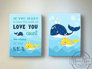 Nursery Inspirational Rhyme - The Whimsical Whale Collection - Canvas Decor - Set of 2-B018ISMWIS-MuralMax Interiors