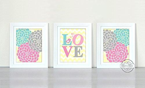 Nursery Wall Art For Girls - Floral Mums & Love Collection - Set of 3 - Unframed Prints-B01CRT8XM8