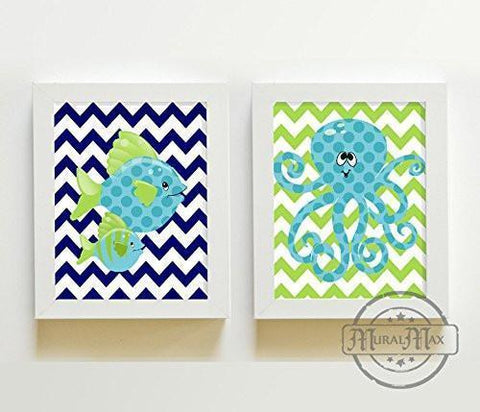 Octopus & Fish Nursery Wall Art - Navy Teal & Green Nursery Decor - Unframed Prints - Set of 2-MuralMax Interiors