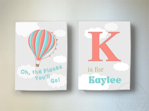 Oh The Places You'll Go Nursery Wall Art - Travel Nursery Decor - Hot Air Balloon Canvas Set of 2Baby ProductMuralMax Interiors