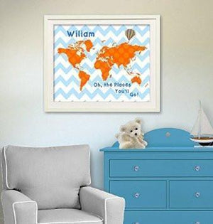 Orange and Blue Kids Room Decor Personalized Chevron Dr Seuss Map - Oh - The Places You'll Go - Unframed Print-B018KOAUAC-MuralMax Interiors