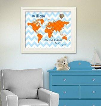 Orange and Blue Kids Room Decor Personalized Chevron Dr Seuss Map - Oh - The Places You'll Go - Unframed Print-B018KOAUAC