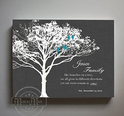 Our Family, Like Branches On A Tree - Personalized Family Tree & Lovebirds, Stretched Canvas Wall Art - Unique Wall Decor - Charcoal - B01M11T4TV-MuralMax Interiors