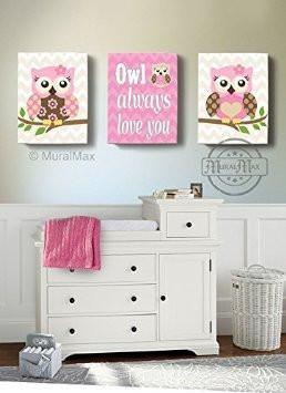 Owl Always Love You Decor - Canvas Nursery Art Collection - Inspirational Rhymes - Set of 2-B018GT1VIG-MuralMax Interiors