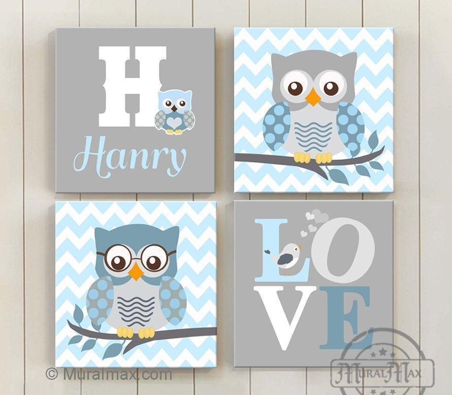 Owl and Elephant Wall Art - Personalized Love Inspirational Quote Canvas Nursery Decor - Set of 4-MuralMax Interiors