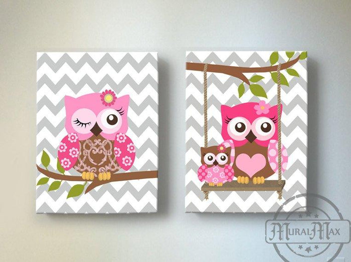 Owl Art For Girls Room - Hot Pink & Brown Canvas Wall Art - Set of 2