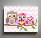 Owl Art - Girls Room Decor - Owl Family of 3 Perched On A Branch - Canvas Decor - Pink Purple Decor