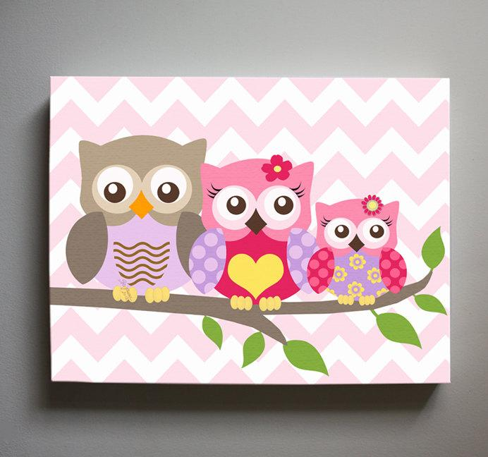Owl Art - Girls Room Decor - Owl Family of 3 Perched On A Branch - Canvas Decor - Pink Purple Decor-MuralMax Interiors