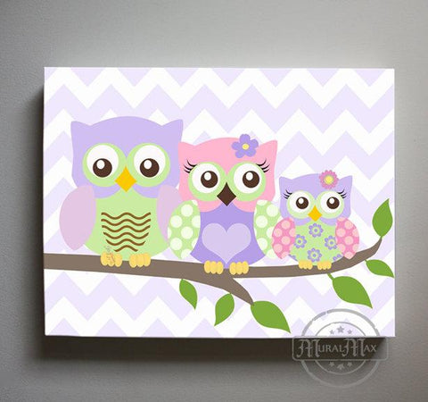 Owl Art - Nursery Decor - Pink Purple Owl Family On A Branch - Canvas Decor