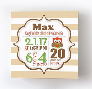Owl Baby Boy Nursery Art - Birth Announcements - Owl Nursery Decor - Stretched Canvas Wall ArtBaby ProductMuralMax Interiors