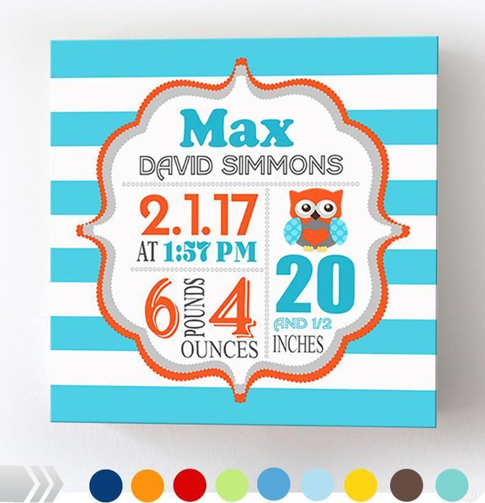 Owl Baby Boy Nursery Art - Birth Announcements - Owl Nursery Decor - Stretched Canvas Wall Art