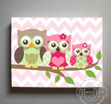 Owl Baby Girl Nursery Decor - Mom Dad Baby Owl Perched On A Branch - Canvas Decor