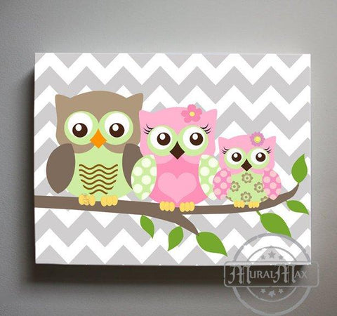 Owl Baby Girl Nursery Wall Art - Owl Family Canvas Decor - Pink & Green Girl Room DecorBaby ProductMuralMax Interiors