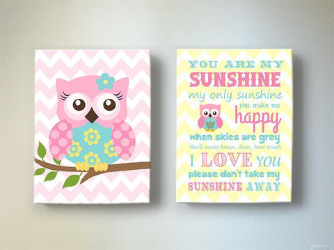 Owl Baby Girl Room Decor & Sunshine Lyrics Canvas Art - Inspirational Quote - Set of 2