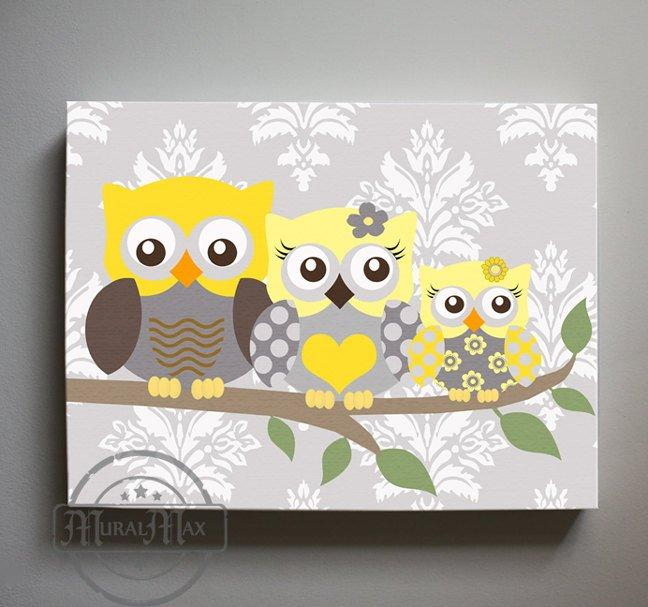 Owl Baby Nursery Art - Yellow Gray Owl Family Of 3 Canvas Nursery Decor - Yellow Gray Wall Art