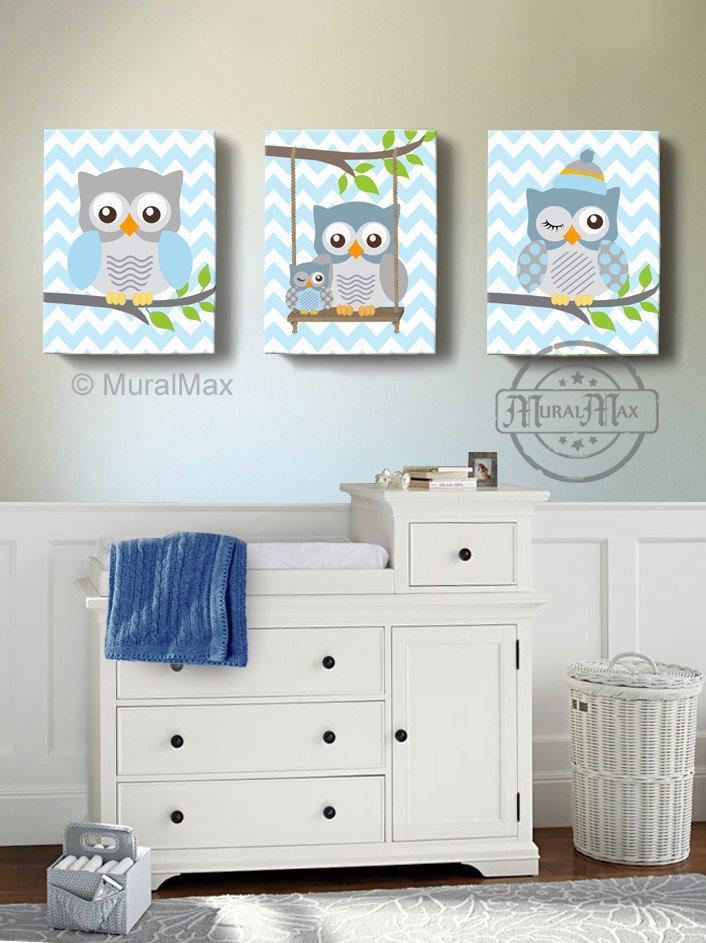 Owl Canvas Nursery Art - Baby Blue Owl Decor - Set of 3-Toddler Room Decor-MuralMax Interiors