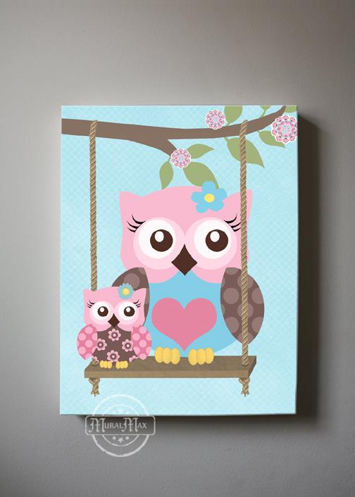 Owl Canvas Nursery Art - Brooklyn Owl Girl Room Decor - Set of 3 Canvas Wall Art