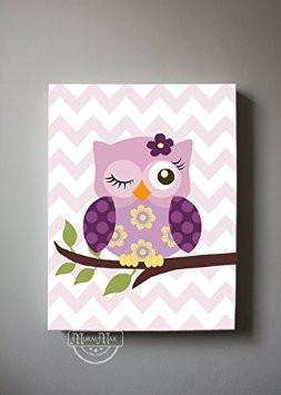Owl Canvas Nursery Art - Plum Owl Collection - Purple Girl Room Decor-MuralMax Interiors