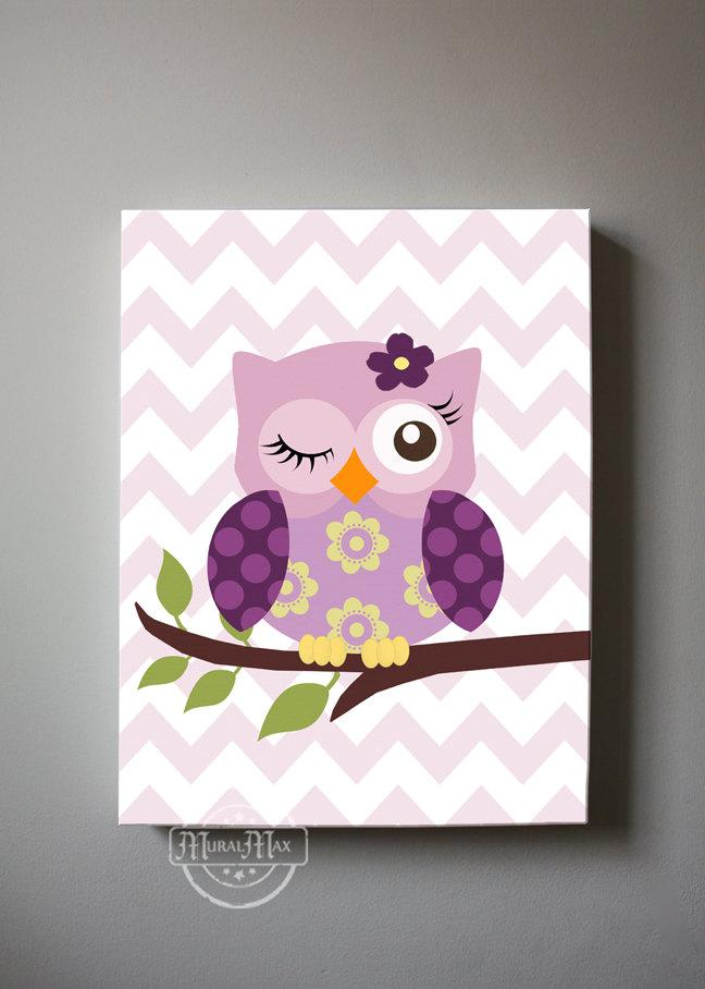Owl Canvas Nursery Art - Plum Owl Collection - Purple Girl Room Decor