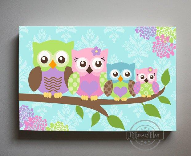Owl Children's Art - Family Of 4 Panoramic Canvas Art - Nursery Wall Decor-MuralMax Interiors