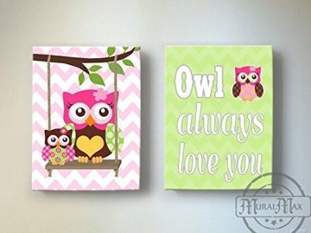 Owl Decor - Baby Girl Room Owl Always Love You Canvas Wall Art - Set of 2
