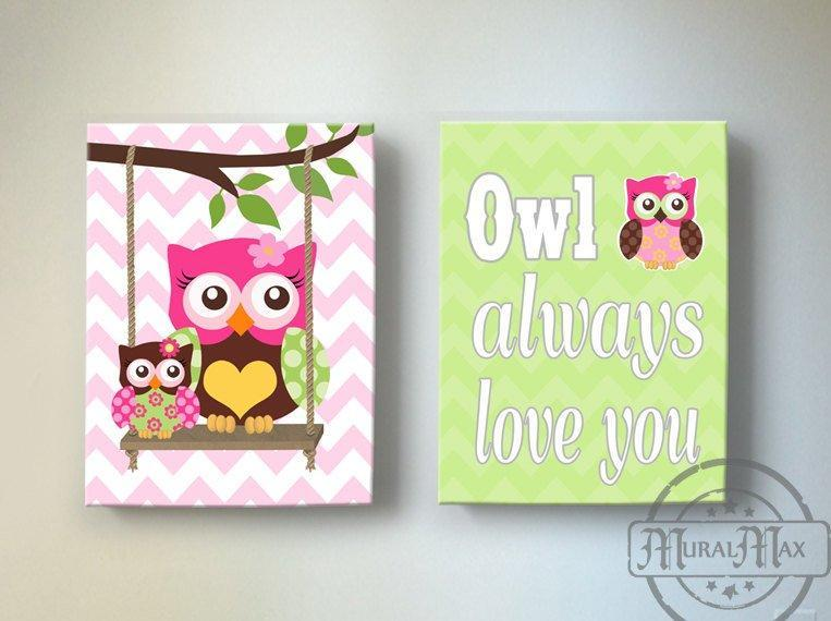 Owl Decor - Baby Girl Room Owl Always Love You Canvas Wall Art - Set of 2-MuralMax Interiors