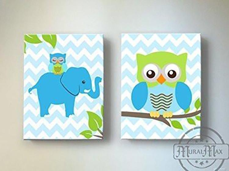 Owl Elephant Decor Baby Boy Nursery Canvas Wall Art - Set of 2-MuralMax Interiors