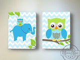 Owl Elephant Decor Baby Boy Nursery Canvas Wall Art - Set of 2