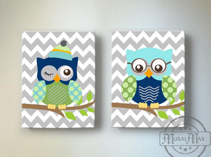 Owl Family Chevron Canvas Art Decor - Navy Green Aqua Boy Room Decor- Set of 2 Nursery Art
