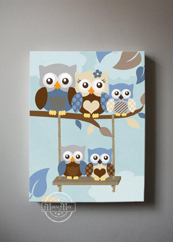 Owl Family Nursery Art - Family of 5 Baby Boy Nursery Decor - Blue & Brown Decor - Canvas Art