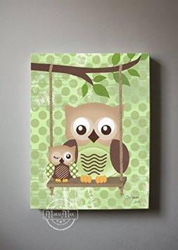 Owl Family Perched On A Branch - Polka Dots Canvas Art Decor-B018GSWGV8