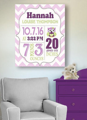 Owl Girl Room Decor - Birth Announcement Canvas Wall Art - Personalized Baby Gift- Baby KeepsakeBaby ProductMuralMax Interiors