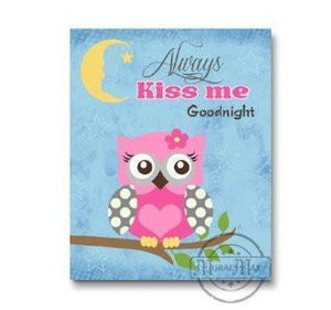 Owl Nursery Art - Always Kiss Me Goodnight - Unframed Print-Pink & Blue-MuralMax Interiors