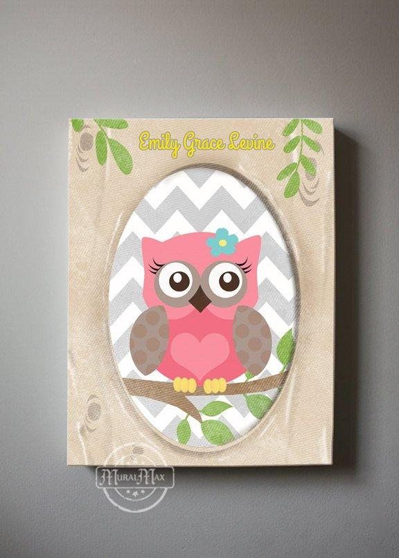 Owl Nursery Art - Personalized Canvas Owl Decor - Whimsical Owl Collection-MuralMax Interiors
